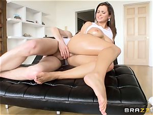 dark haired babe Keisha Grey well-lubed up and analled