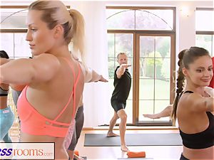 FitnessRooms gang yoga session completes with a internal ejaculation
