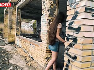 LETSDOEIT - petite French teenage humped rock-hard In Outdoors