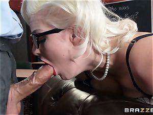 Smoking red-hot blond Jenna Ivory in dark-hued undergarments