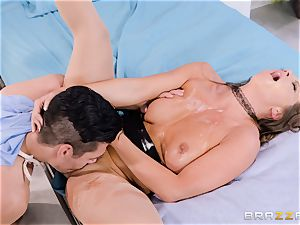 Nurse Abigail Mac bashed in her tidy tight snatch