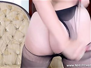 blondie gets out large boobies rips open her sheer stocking
