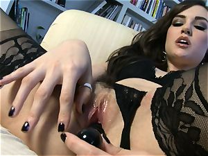 spectacular babe Sasha Grey gets her rosy cootchie porked rock-hard by her toy till she ejaculates