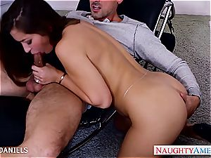 handsome Dani Daniels leaps on his erection for a ride