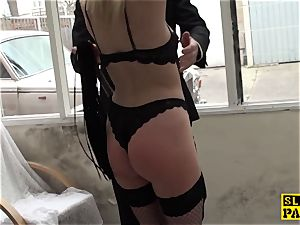 trussed brit victim doggystyled before fellatio