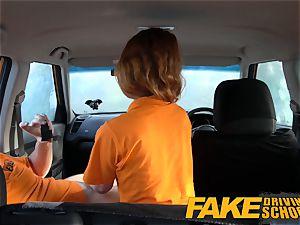 faux Driving college Swotty ginger schoolgirl