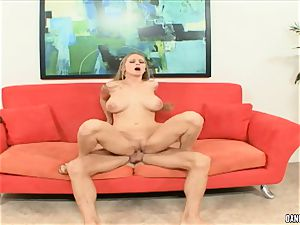 Abby railed juggles her sizzling slit on this firm lollipop