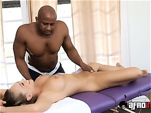 steamy platinum-blonde Kagney Linn Karter treated by big black cock massagist