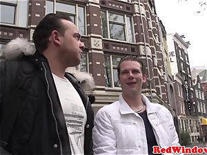 hefty breasted Amsterdam prostitute gets jism showered