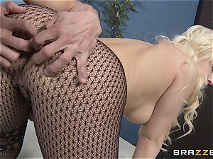 blonde assistant Kagney Linn Karter tearing up her horny partner