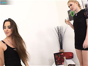 good cutie Amirah Adara and tatted lady Misha Cross plays with their fake penises