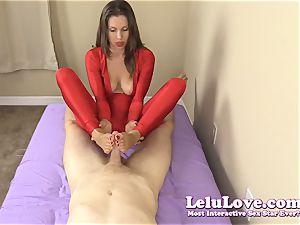 clad nymph gives you hand-job and footjob