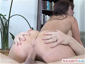 chesty dark haired Jayden Jaymes licks a gigantic manmeat