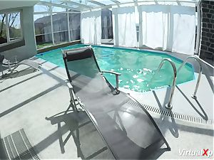 immense jug cougar tugging at the pool