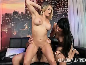 Claudia Valentine joins a duo for a threeway