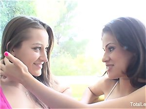 chesty dark-haired Vanessa seduces her beautiful stepsister Dani