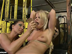 Mandy Bright dildoing a lusty babe on chair