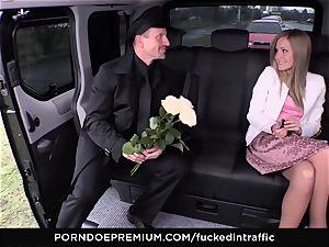 pummeled IN TRAFFIC - cum on butt for ultra-kinky slim platinum-blonde