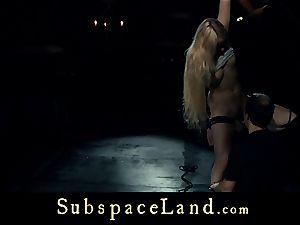 gimp gal ash-blonde pleasured and penalized in subjugation