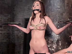 gimp student arse caned and twat romped