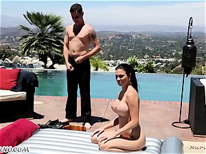 delectable big-boobed masseuse Jasmine Jae gets double titfucked