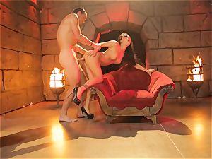 Asa Akira gets her steaming lips plump a gigantic lengthy trunk