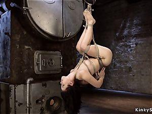 hog tied asian in rope suspension upside down