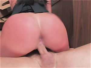 huge-boobed whore Kerry Louise gets jammed stiff and earns a gigantic blast of hot spunk
