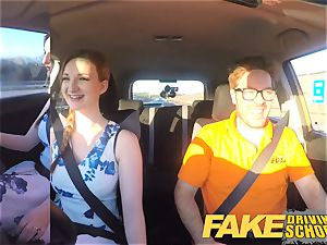 faux Driving school Nerdy redhead teenage student