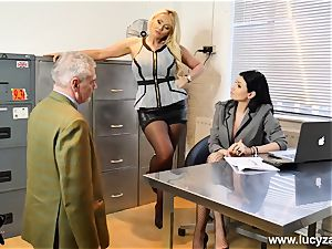 handsome bosses turn office weirdo into sole adore gimp