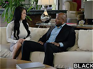 Seducing a enormous black manager with humungous plump melons