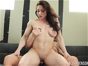 Alura Jenson cooter crammed with strap on dildo strenuous bulky female Brandi May