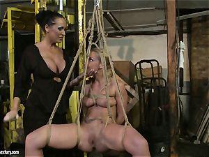 Kathia Nobili and Mandy Bright faux-cock boning rock hard