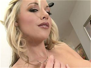 Kayden Kross uses rubbing her figure and jerking to gain some affection