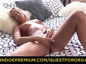 QUEST FOR orgasm oiled blonde powerful sizzling fingering