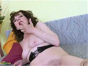 OldNannY superb Mature wooly puss plaything onanism
