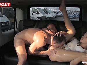 towheaded bombshell busts all over the backseat of a van