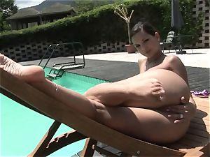 hot Eve Angel thumbs her throbbing pantie pot