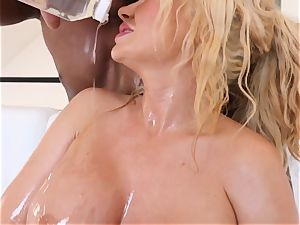 big-titted blond Summer Brielle pounded deep in her oily cunt