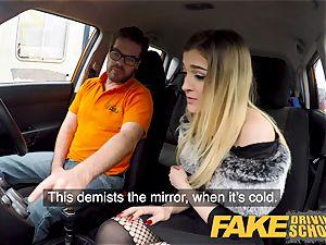 fake Driving school smallish learner with small bra-stuffers