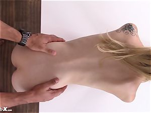 Horned up nubile Kristy May arrives to the casting bed