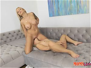 milf and nubile labia slurping under the dining table Nina Elle and Cleo Vixen