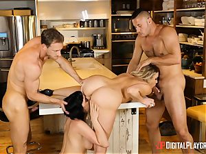 Mia Malkova and Olive Glass muff torn up in the kitchen