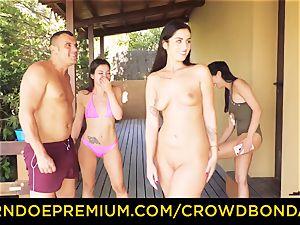 CROWD bondage Outdoor pool fuck-a-thon for super hot Loren Minardi